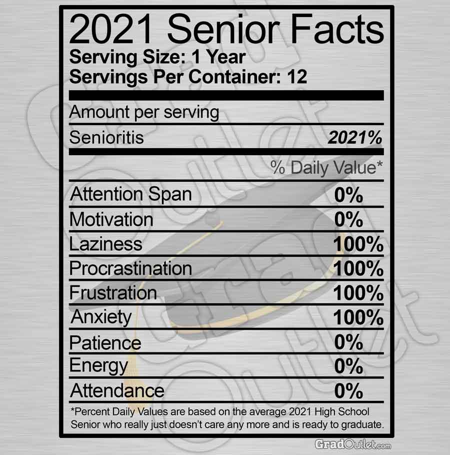 Senior Nutritional Facts - Dark Print Hoodie