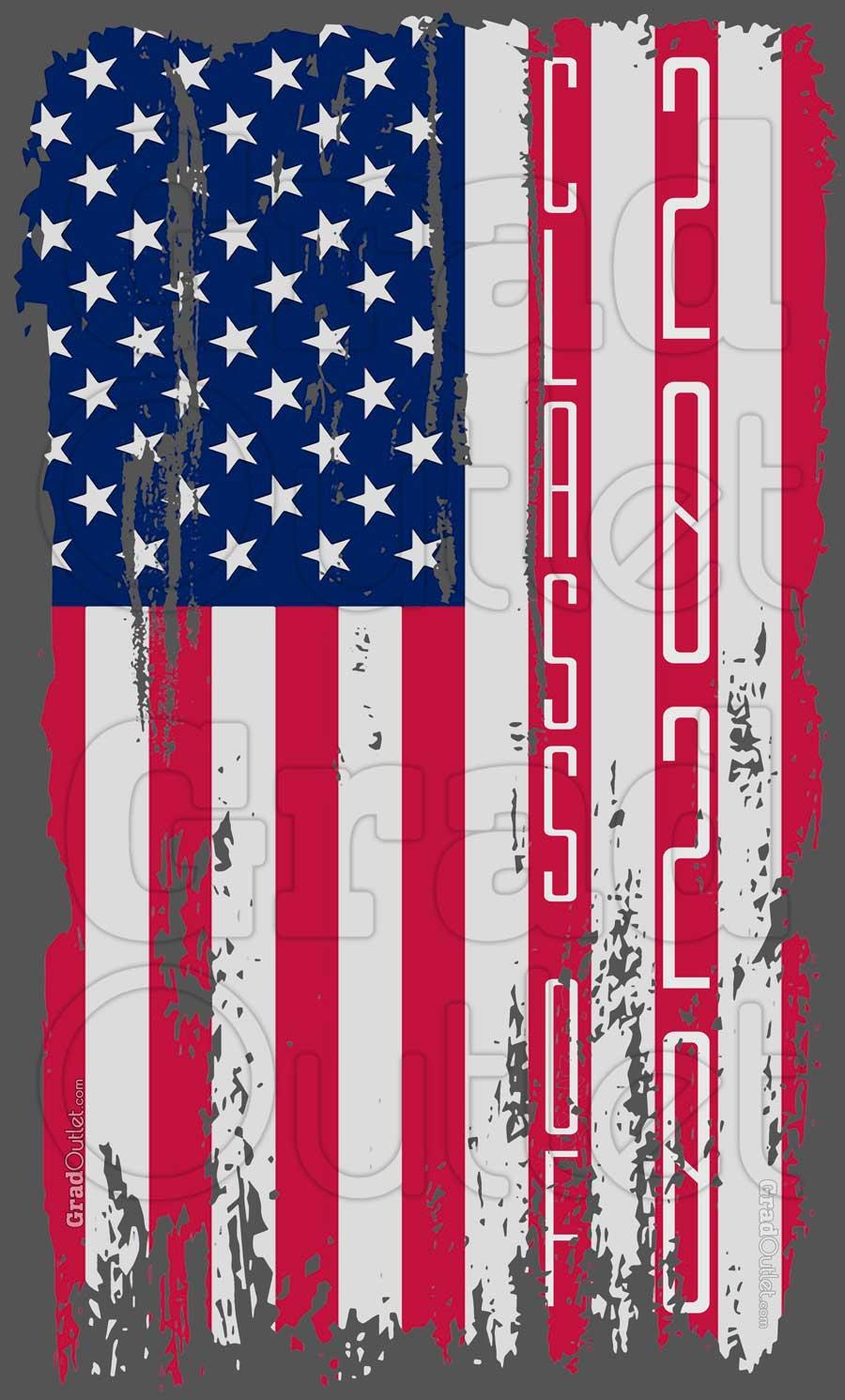 Tattered Vertical USA Flag