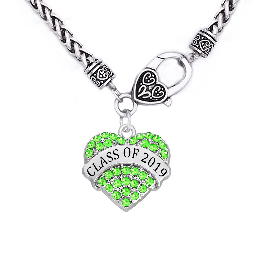 Class of 2019 2020 Crystal Heart Antique Necklace